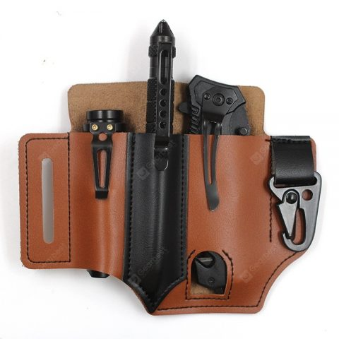 """Outdoor Survival Tool Leather Waist Bag EDC Tactical Tools Holster Flashlight Sabre Case Storage Pack"" 34"